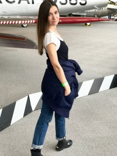 Bomber jacket wrapped around waist