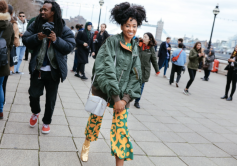 Candace Marie in a Marimekko top and pants at London Fashion Week Fall 2017 by Phil Oh
