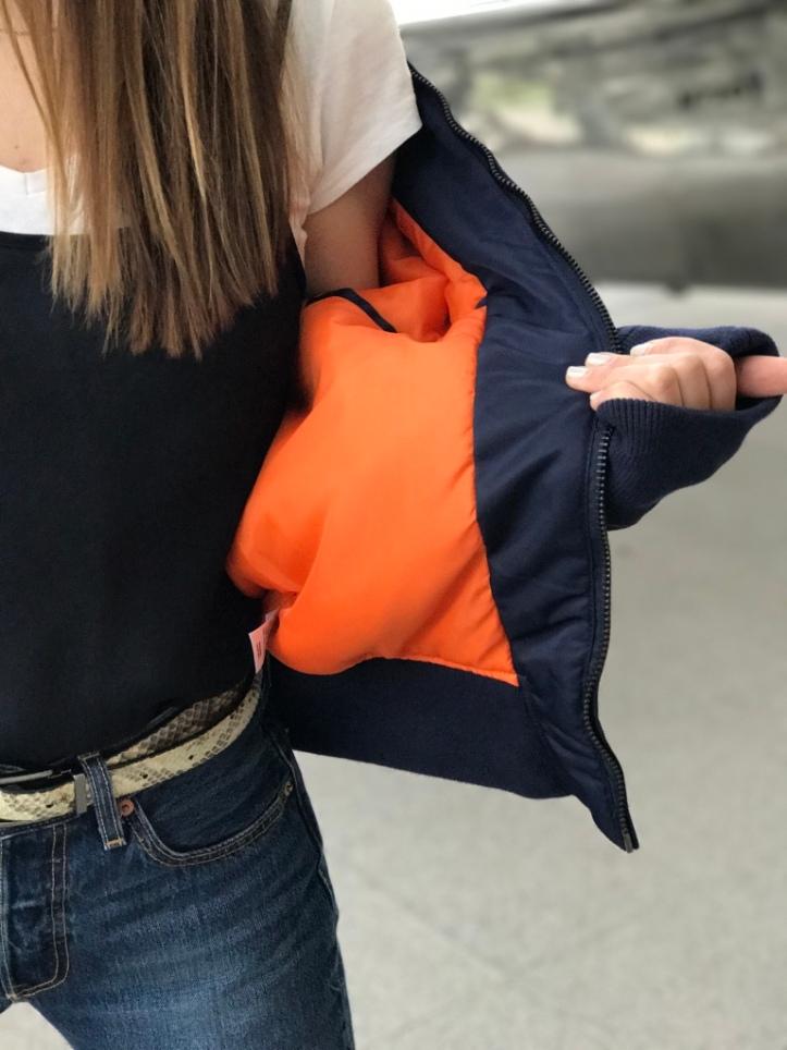 Orange Inner Lining Bomber Jacket